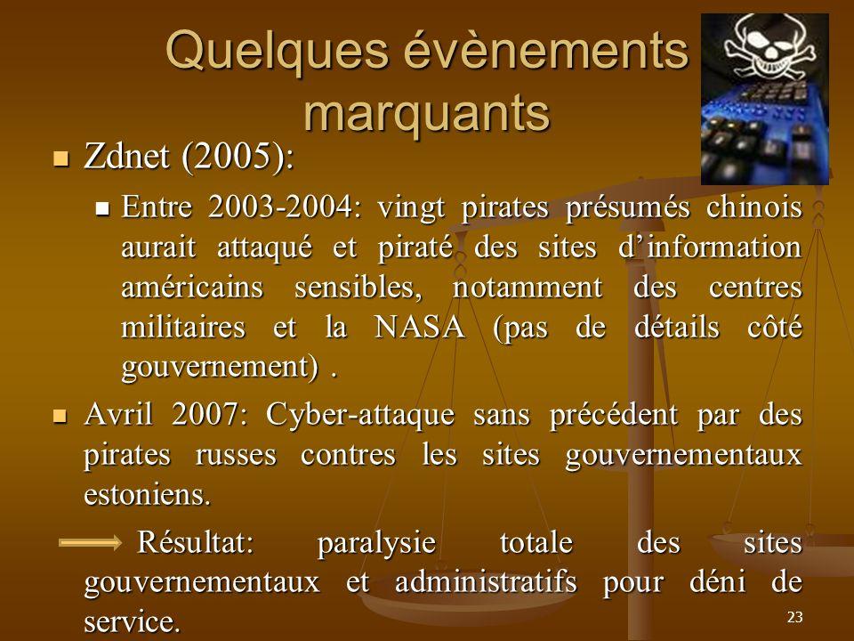 Quelques évènements marquants Zdnet (2005): Zdnet (2005): Entre 2003-2004: vingt pirates présumés chinois aurait attaqué et piraté des sites dinformat