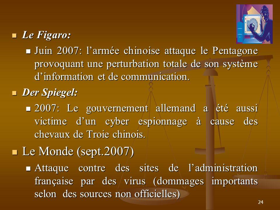 Le Figaro: Le Figaro: Juin 2007: larmée chinoise attaque le Pentagone provoquant une perturbation totale de son système dinformation et de communicati