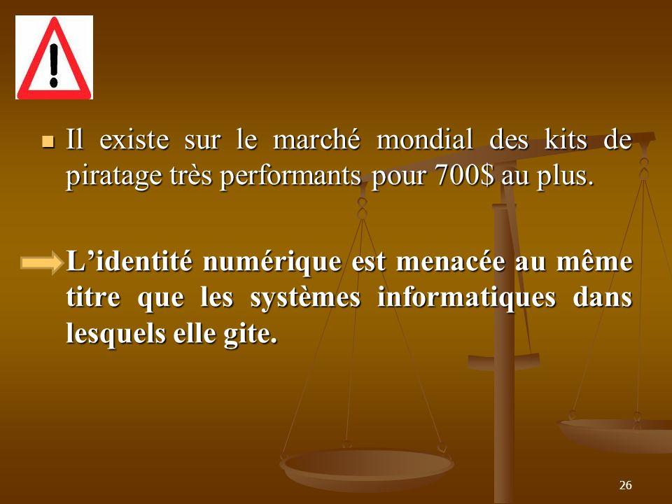 Il existe sur le marché mondial des kits de piratage très performants pour 700$ au plus. Il existe sur le marché mondial des kits de piratage très per