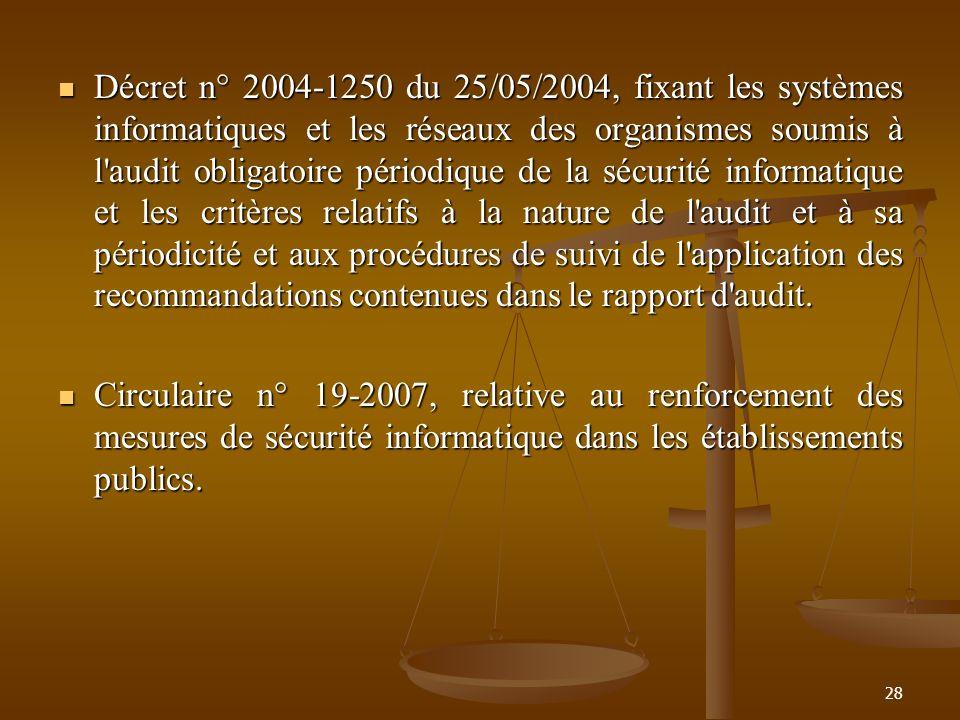 Décret n° 2004-1250 du 25/05/2004, fixant les systèmes informatiques et les réseaux des organismes soumis à l'audit obligatoire périodique de la sécur