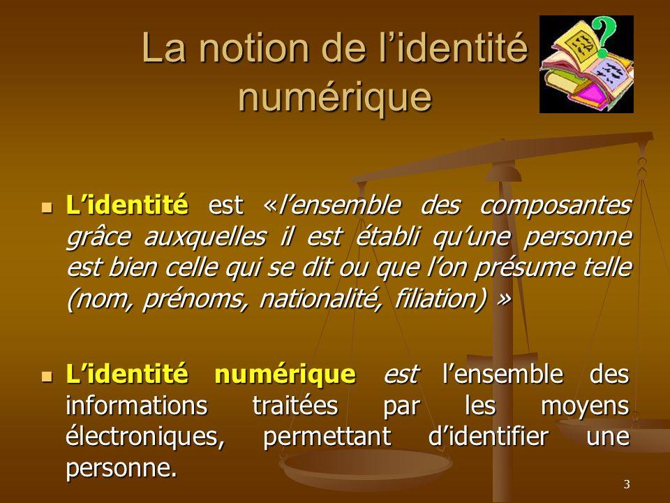 La notion de lidentité numérique Lidentité est «lensemble des composantes grâce auxquelles il est établi quune personne est bien celle qui se dit ou q