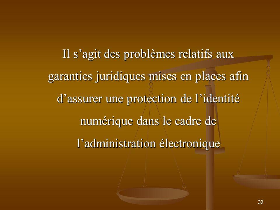 Il sagit des problèmes relatifs aux garanties juridiques mises en places afin dassurer une protection de lidentité numérique dans le cadre de ladminis