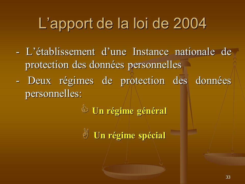 Lapport de la loi de 2004 - Létablissement dune Instance nationale de protection des données personnelles - Deux régimes de protection des données per