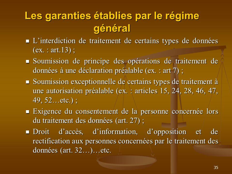 Les garanties établies par le régime général Linterdiction de traitement de certains types de données (ex. : art.13) ; Linterdiction de traitement de