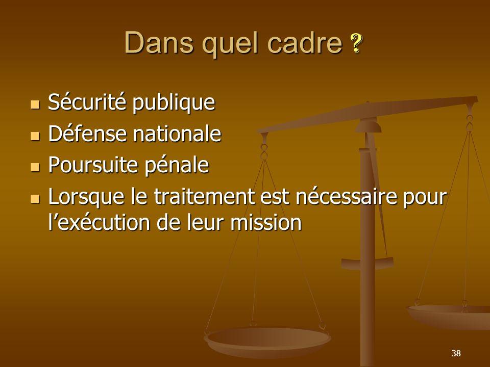 Dans quel cadre ? Sécurité publique Sécurité publique Défense nationale Défense nationale Poursuite pénale Poursuite pénale Lorsque le traitement est