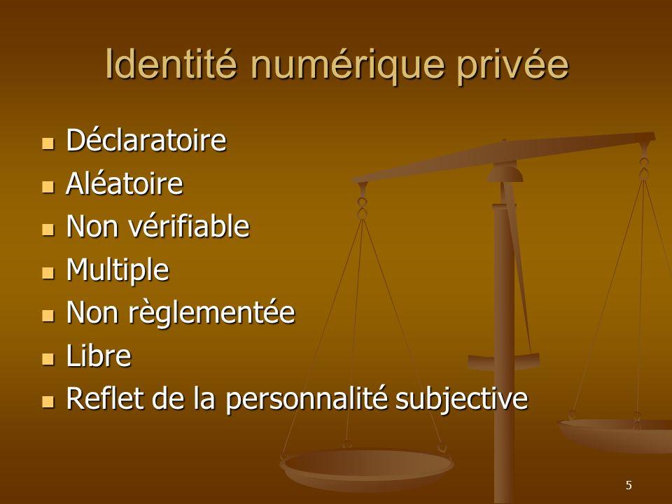 Identité numérique privée Déclaratoire Déclaratoire Aléatoire Aléatoire Non vérifiable Non vérifiable Multiple Multiple Non règlementée Non règlementé
