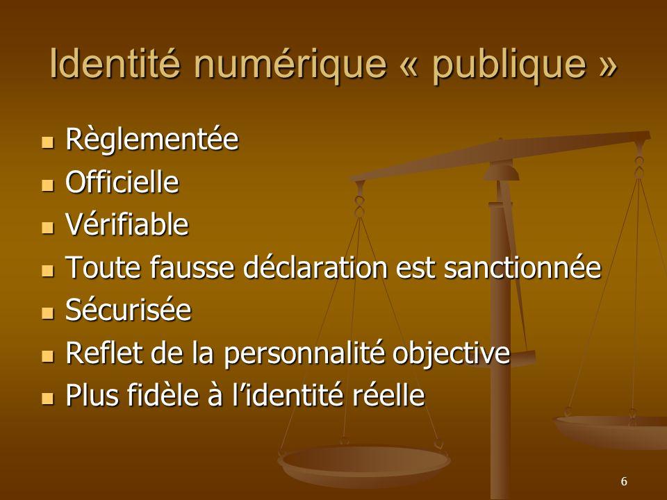 Identité numérique « publique » Règlementée Règlementée Officielle Officielle Vérifiable Vérifiable Toute fausse déclaration est sanctionnée Toute fau