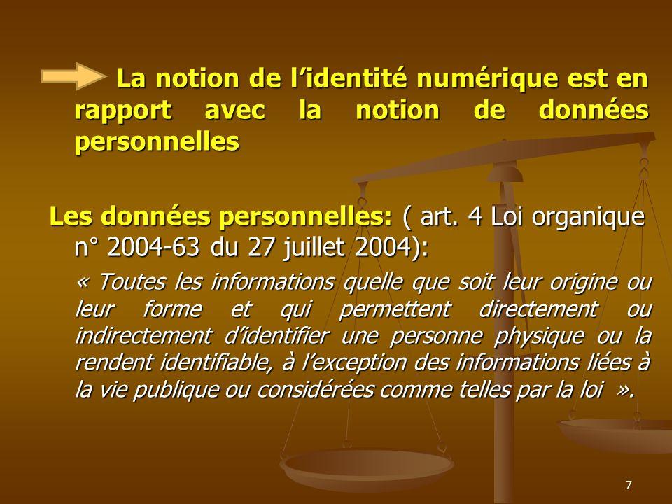 La notion de lidentité numérique est en rapport avec la notion de données personnelles Les données personnelles: ( art. 4 Loi organique n° 2004-63 du
