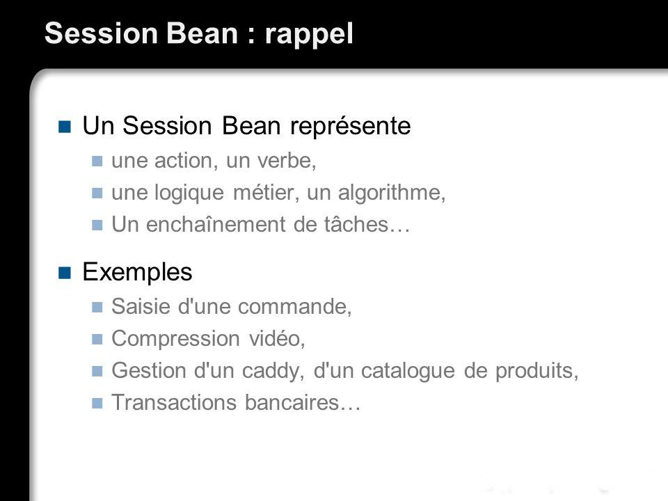 Session Bean : rappel Un Session Bean représente une action, un verbe, une logique métier, un algorithme, Un enchaînement de tâches… Exemples Saisie d