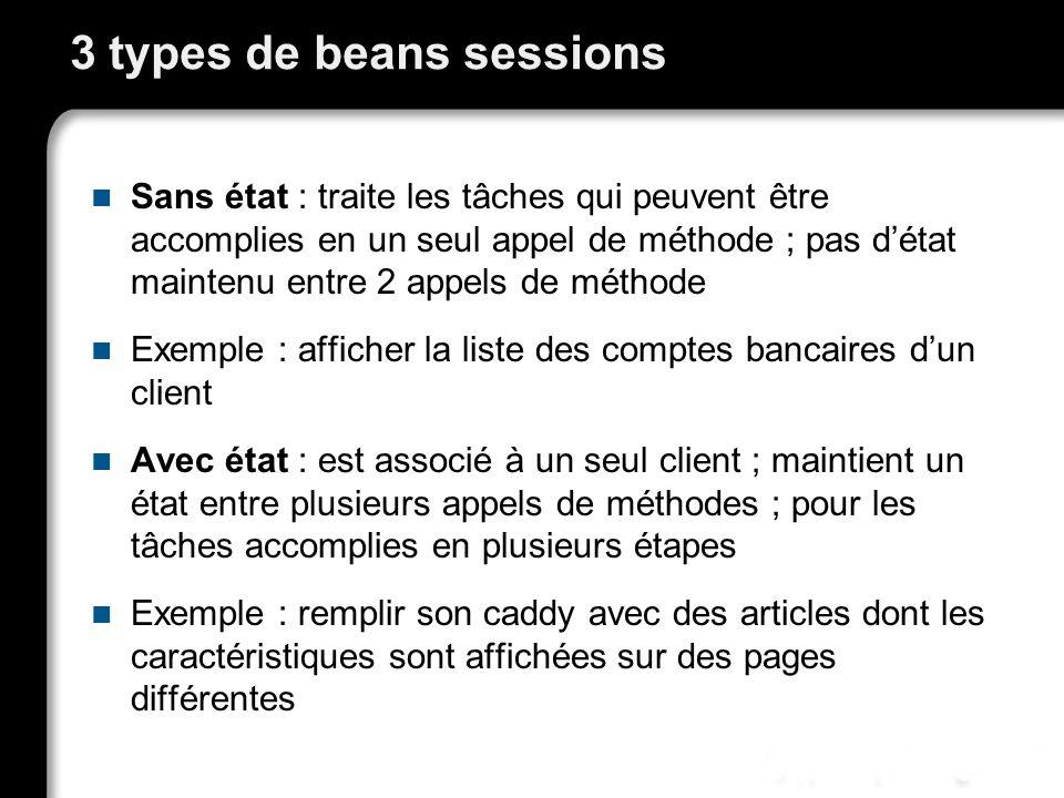 3 types de beans sessions Sans état : traite les tâches qui peuvent être accomplies en un seul appel de méthode ; pas détat maintenu entre 2 appels de