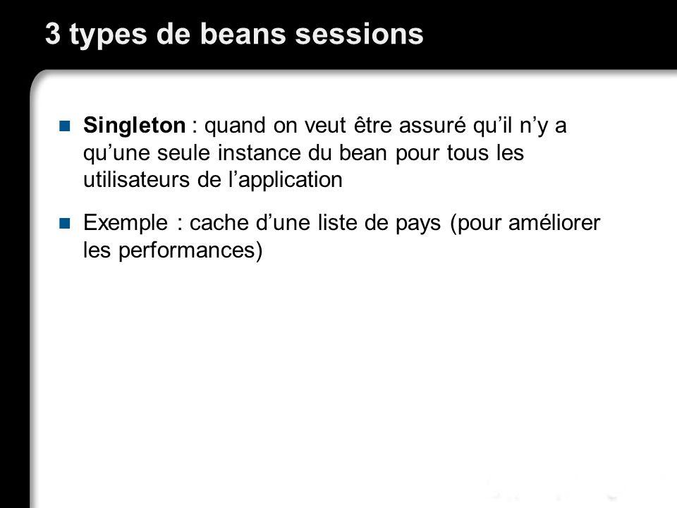 3 types de beans sessions Singleton : quand on veut être assuré quil ny a quune seule instance du bean pour tous les utilisateurs de lapplication Exemple : cache dune liste de pays (pour améliorer les performances)