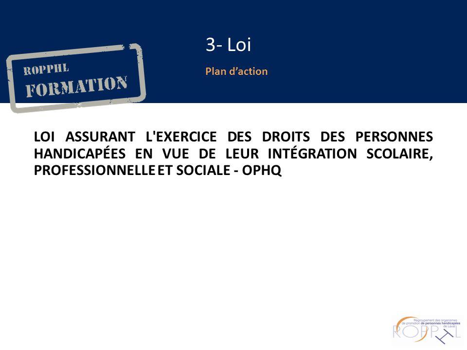 Plan daction 3- Loi LOI ASSURANT L EXERCICE DES DROITS DES PERSONNES HANDICAPÉES EN VUE DE LEUR INTÉGRATION SCOLAIRE, PROFESSIONNELLE ET SOCIALE - OPHQ
