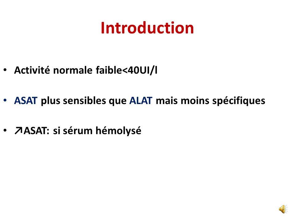 Introduction Augmentation des transaminases: jamais physiologique Taux non corrélé à la gravité de la cause Causes souvent hépatiques ou biliaires ALA