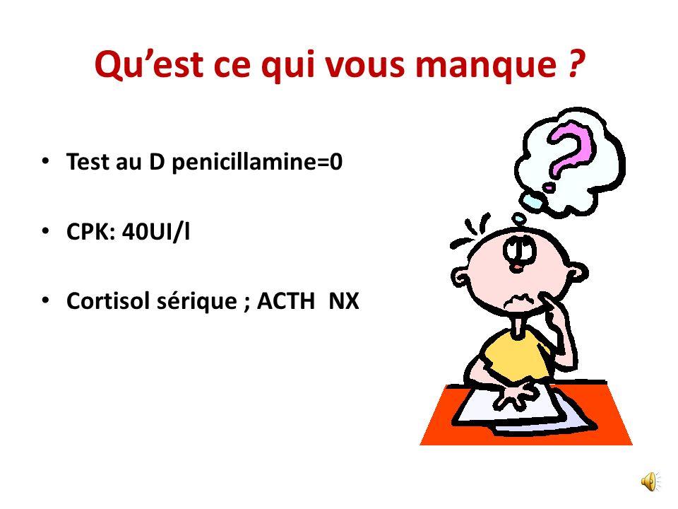 Hypothèses? IgM Anti HVA =0 Echographie abdominale: foie homogène légèrement de taille, stéatose hépatique? TG/Cholestérol: NX HVB, C, CMV, EBV=0 Cupr