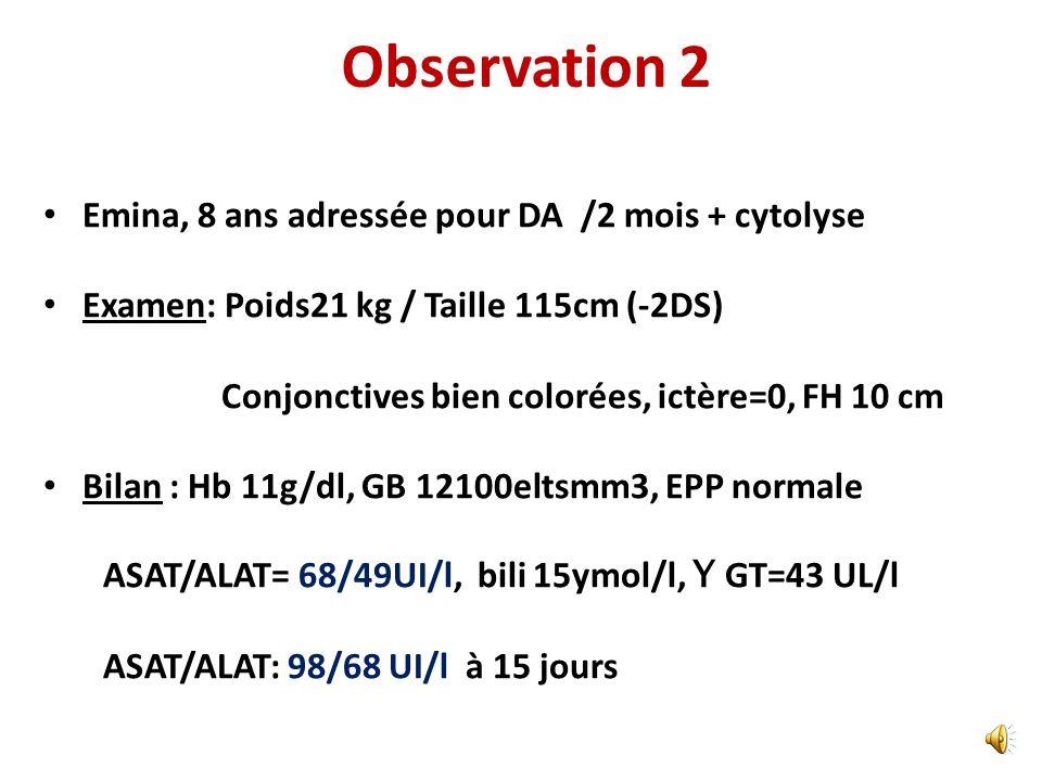 Quest ce qu on fait? Persistance de la cytolyse malgré la diète (à 6 mois) AML + à 1/400 PBF: infiltrat dense intra lobulaire, lymphocytaire peribilai
