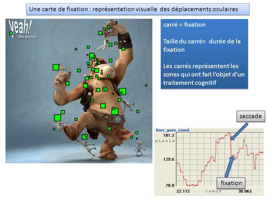 Une carte de fixation : représentation visuelle des déplacements oculaires carré = fixation Taille du carré= durée de la fixation Les carrés représent