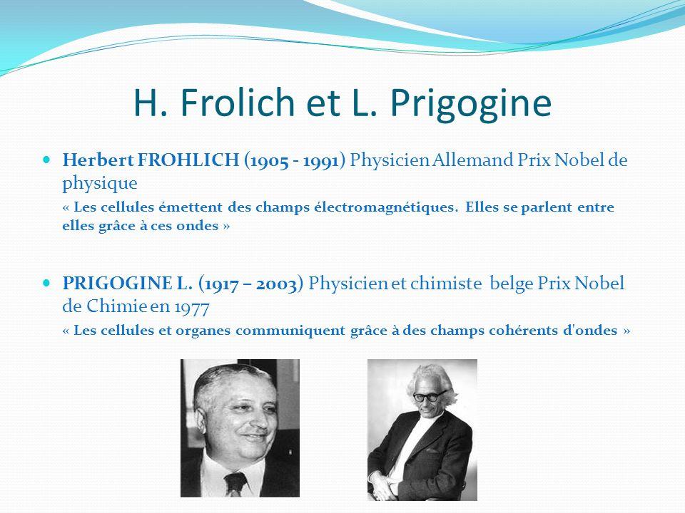 H. Frolich et L. Prigogine Herbert FROHLICH (1905 - 1991) Physicien Allemand Prix Nobel de physique « Les cellules émettent des champs électromagnétiq