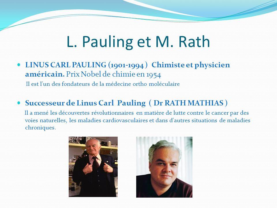 L. Pauling et M. Rath LINUS CARL PAULING (1901-1994 ) Chimiste et physicien américain. Prix Nobel de chimie en 1954 Il est l'un des fondateurs de la m
