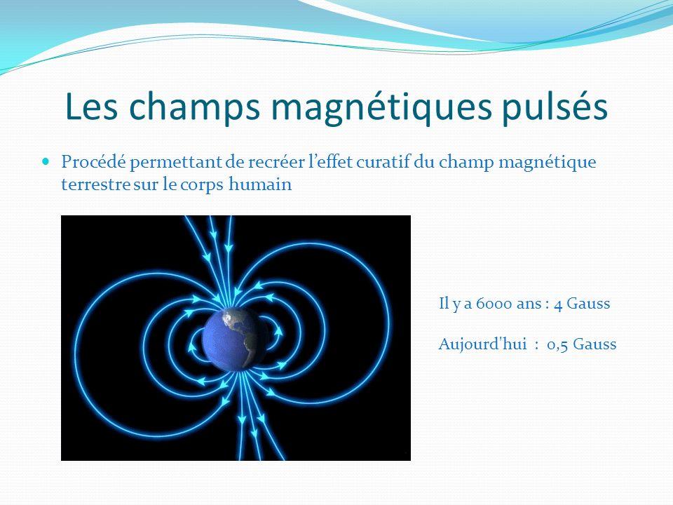 Les champs magnétiques pulsés Procédé permettant de recréer leffet curatif du champ magnétique terrestre sur le corps humain Il y a 6000 ans : 4 Gauss