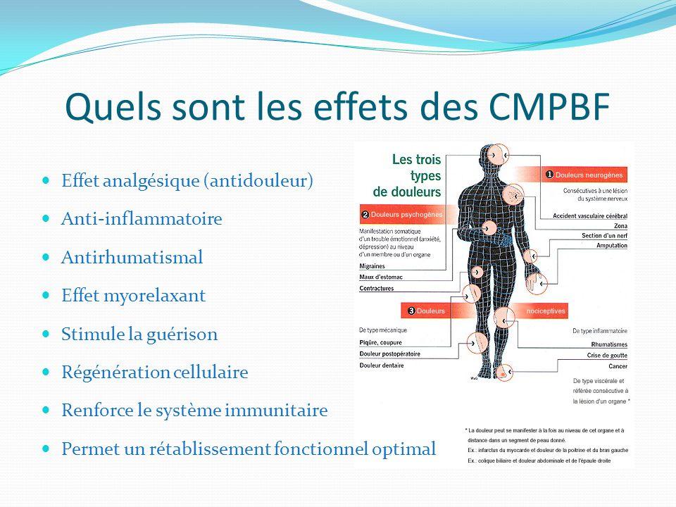 Quels sont les effets des CMPBF Effet analgésique (antidouleur) Anti-inflammatoire Antirhumatismal Effet myorelaxant Stimule la guérison Régénération