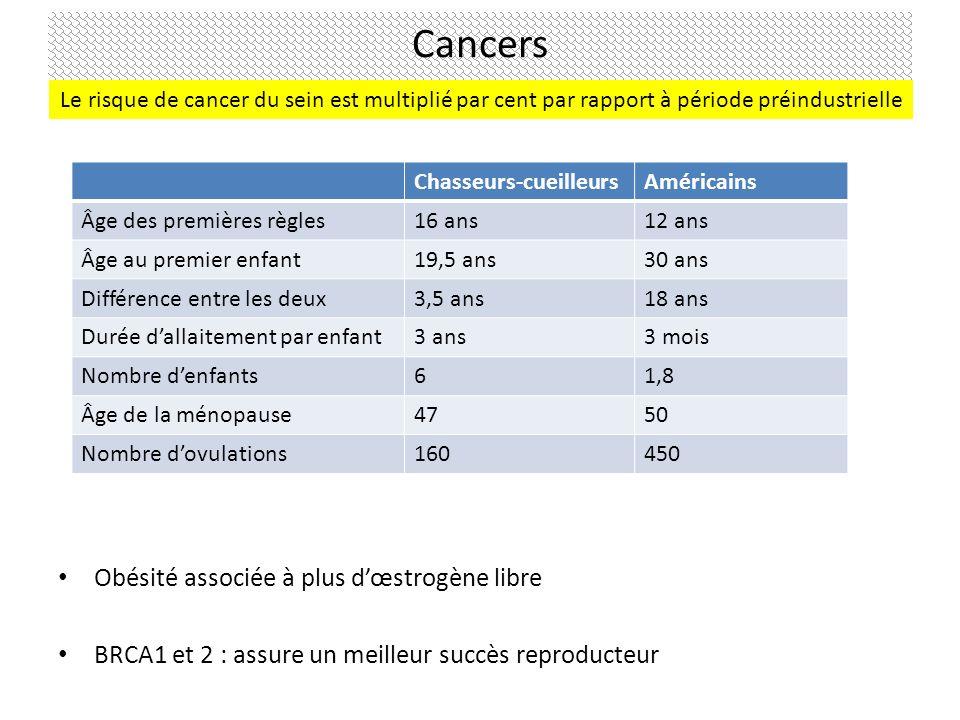 Obésité associée à plus dœstrogène libre BRCA1 et 2 : assure un meilleur succès reproducteur Chasseurs-cueilleursAméricains Âge des premières règles16 ans12 ans Âge au premier enfant19,5 ans30 ans Différence entre les deux3,5 ans18 ans Durée dallaitement par enfant3 ans3 mois Nombre denfants61,8 Âge de la ménopause4750 Nombre dovulations160450 Cancers Le risque de cancer du sein est multiplié par cent par rapport à période préindustrielle