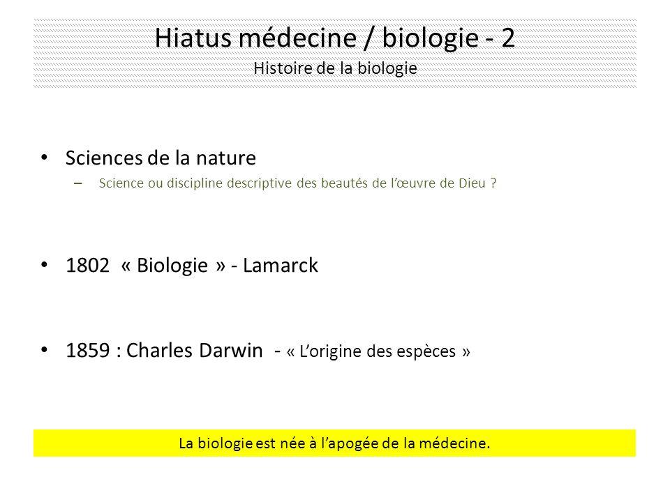 Hiatus médecine / biologie - 2 Histoire de la biologie Sciences de la nature – Science ou discipline descriptive des beautés de lœuvre de Dieu .