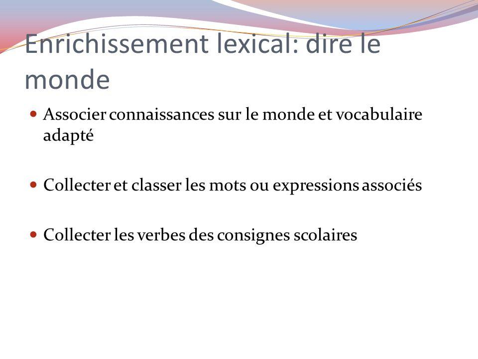 Enrichissement lexical: dire le monde Associer connaissances sur le monde et vocabulaire adapté Collecter et classer les mots ou expressions associés