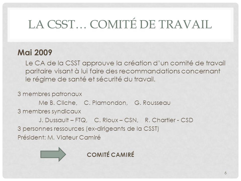 LA CSST… COMITÉ DE TRAVAIL Mai 2009 Le CA de la CSST approuve la création dun comité de travail paritaire visant à lui faire des recommandations conce
