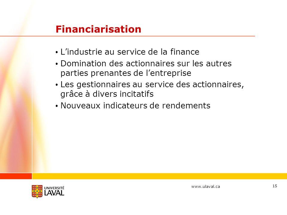 www.ulaval.ca Financiarisation Lindustrie au service de la finance Domination des actionnaires sur les autres parties prenantes de lentreprise Les gestionnaires au service des actionnaires, grâce à divers incitatifs Nouveaux indicateurs de rendements 15