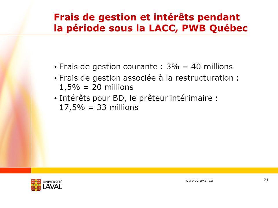 www.ulaval.ca Frais de gestion et intérêts pendant la période sous la LACC, PWB Québec Frais de gestion courante : 3% = 40 millions Frais de gestion associée à la restructuration : 1,5% = 20 millions Intérêts pour BD, le prêteur intérimaire : 17,5% = 33 millions 21