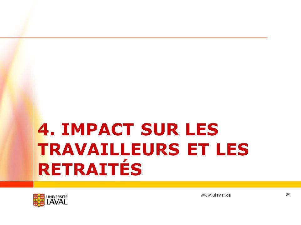www.ulaval.ca 4. IMPACT SUR LES TRAVAILLEURS ET LES RETRAITÉS 29