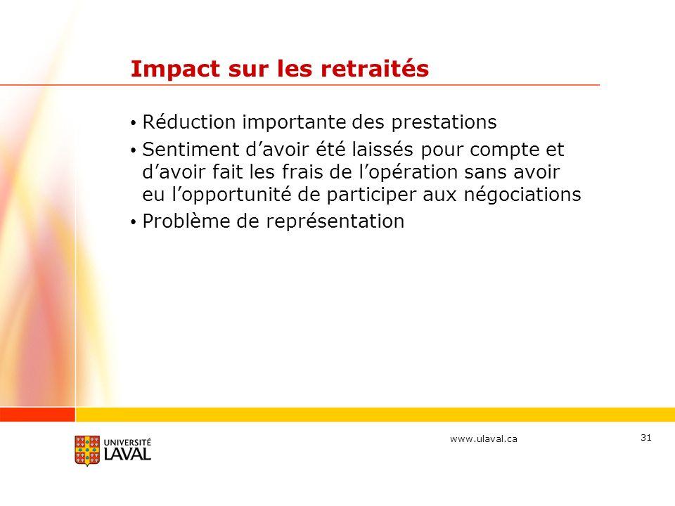 www.ulaval.ca Impact sur les retraités Réduction importante des prestations Sentiment davoir été laissés pour compte et davoir fait les frais de lopération sans avoir eu lopportunité de participer aux négociations Problème de représentation 31