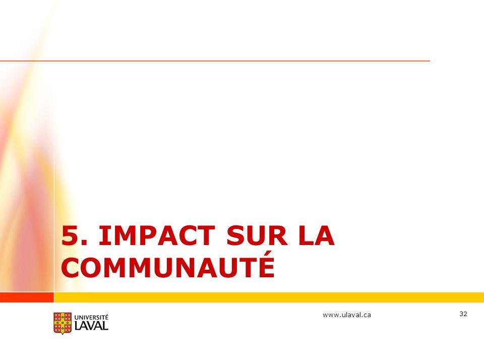 www.ulaval.ca 5. IMPACT SUR LA COMMUNAUTÉ 32