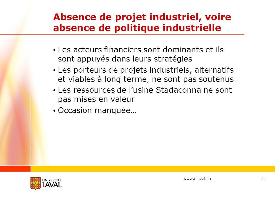 www.ulaval.ca Absence de projet industriel, voire absence de politique industrielle Les acteurs financiers sont dominants et ils sont appuyés dans leurs stratégies Les porteurs de projets industriels, alternatifs et viables à long terme, ne sont pas soutenus Les ressources de lusine Stadaconna ne sont pas mises en valeur Occasion manquée… 35