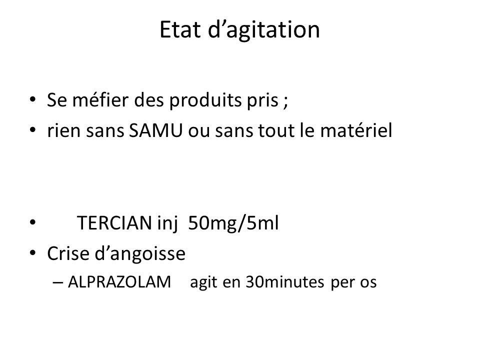 Etat dagitation Se méfier des produits pris ; rien sans SAMU ou sans tout le matériel TERCIAN inj 50mg/5ml Crise dangoisse – ALPRAZOLAM agit en 30minu