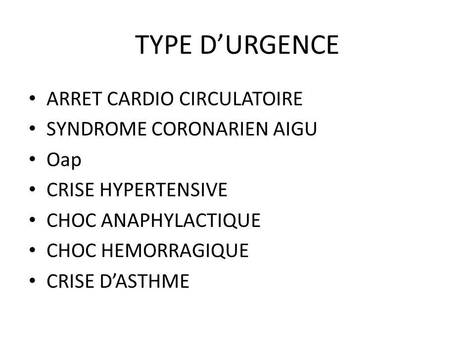 TYPE DURGENCE ARRET CARDIO CIRCULATOIRE SYNDROME CORONARIEN AIGU Oap CRISE HYPERTENSIVE CHOC ANAPHYLACTIQUE CHOC HEMORRAGIQUE CRISE DASTHME