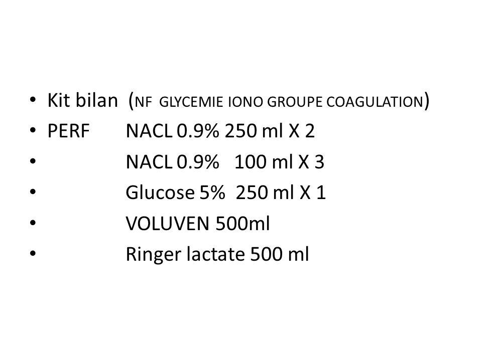 Kit bilan ( NF GLYCEMIE IONO GROUPE COAGULATION ) PERFNACL 0.9% 250 ml X 2 NACL 0.9% 100 ml X 3 Glucose 5% 250 ml X 1 VOLUVEN 500ml Ringer lactate 500