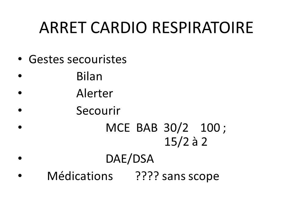 Gestes secouristes Bilan Alerter Secourir MCE BAB 30/2 100 ; 15/2 à 2 DAE/DSA Médications ???? sans scope