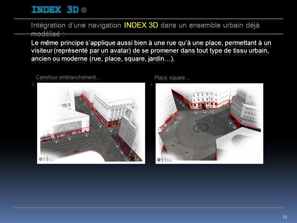 12 Intégration dune navigation INDEX 3D dans un ensemble urbain déjà modélisé :