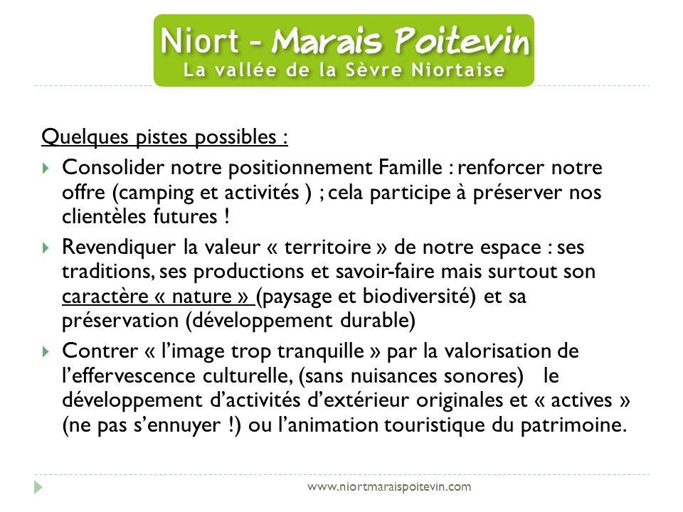 www.niortmaraispoitevin.com Quelques pistes possibles : Consolider notre positionnement Famille : renforcer notre offre (camping et activités ) ; cela participe à préserver nos clientèles futures .
