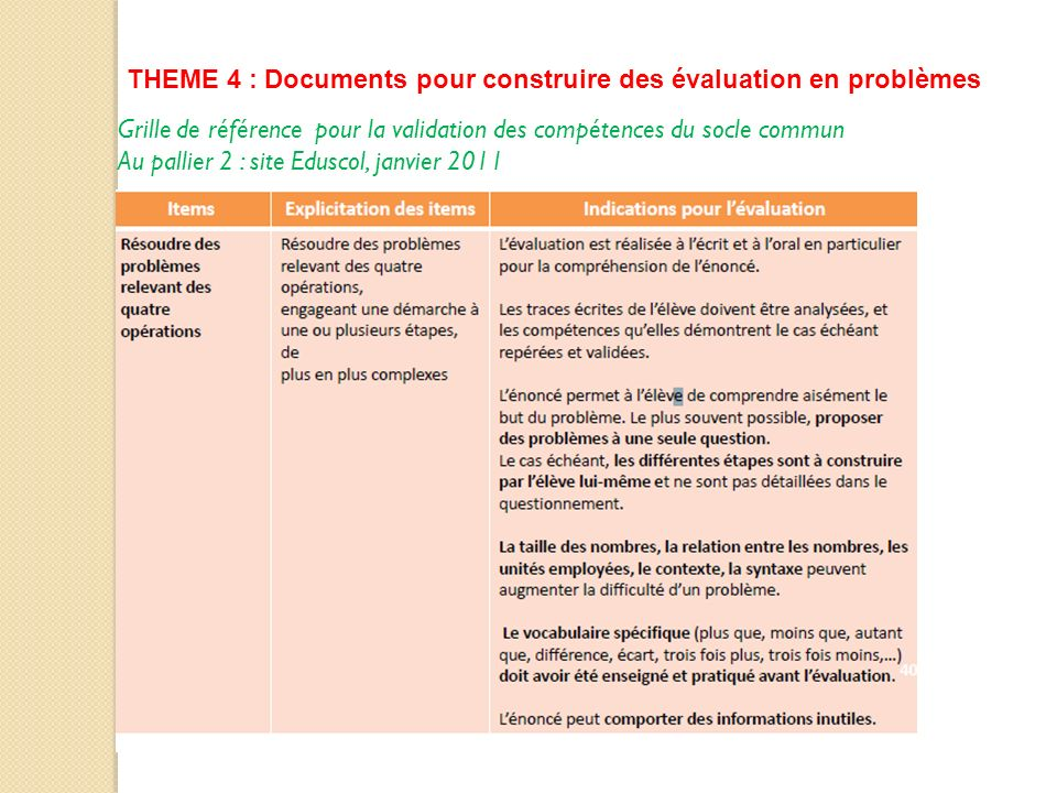 THEME 4 : Documents pour construire des évaluation en problèmes Grille de référence pour la validation des compétences du socle commun Au pallier 2 :