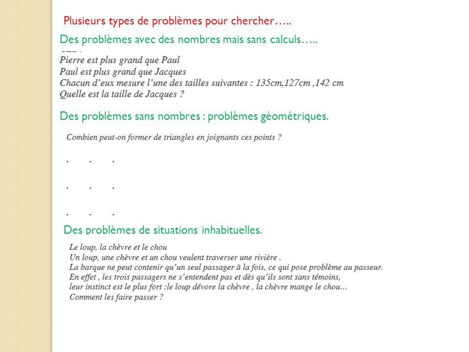 Plusieurs types de problèmes pour chercher….. Des problèmes avec des nombres mais sans calculs….. Des problèmes sans nombres : problèmes géométriques.