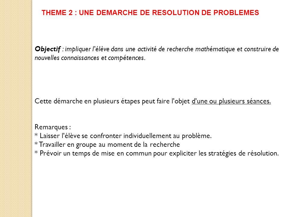 THEME 2 : UNE DEMARCHE DE RESOLUTION DE PROBLEMES Objectif : impliquer l'élève dans une activité de recherche mathématique et construire de nouvelles