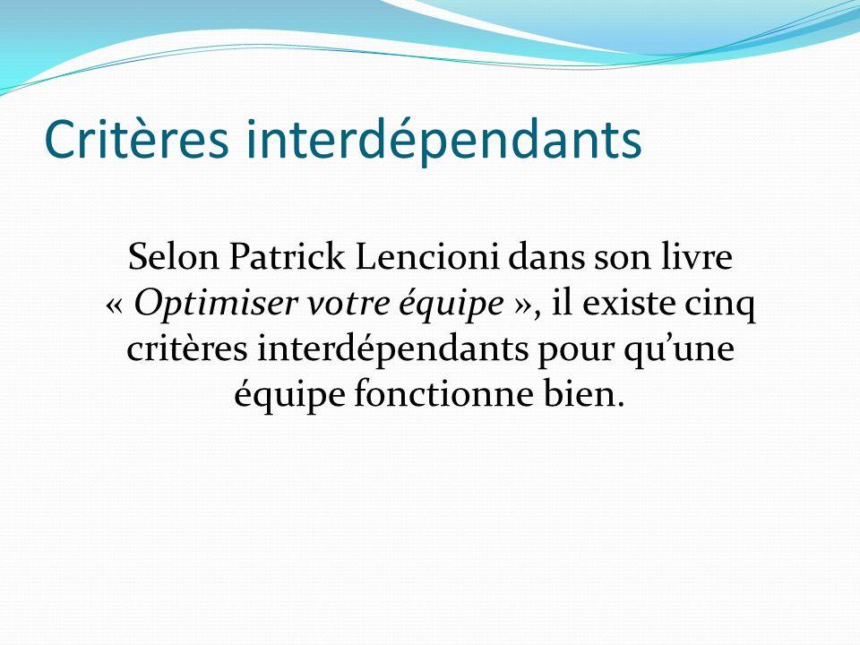 Critères interdépendants Selon Patrick Lencioni dans son livre « Optimiser votre équipe », il existe cinq critères interdépendants pour quune équipe fonctionne bien.