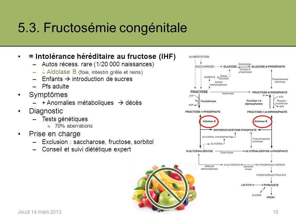 5.3.Fructosémie congénitale = Intolérance héréditaire au fructose (IHF) –Autos récess.