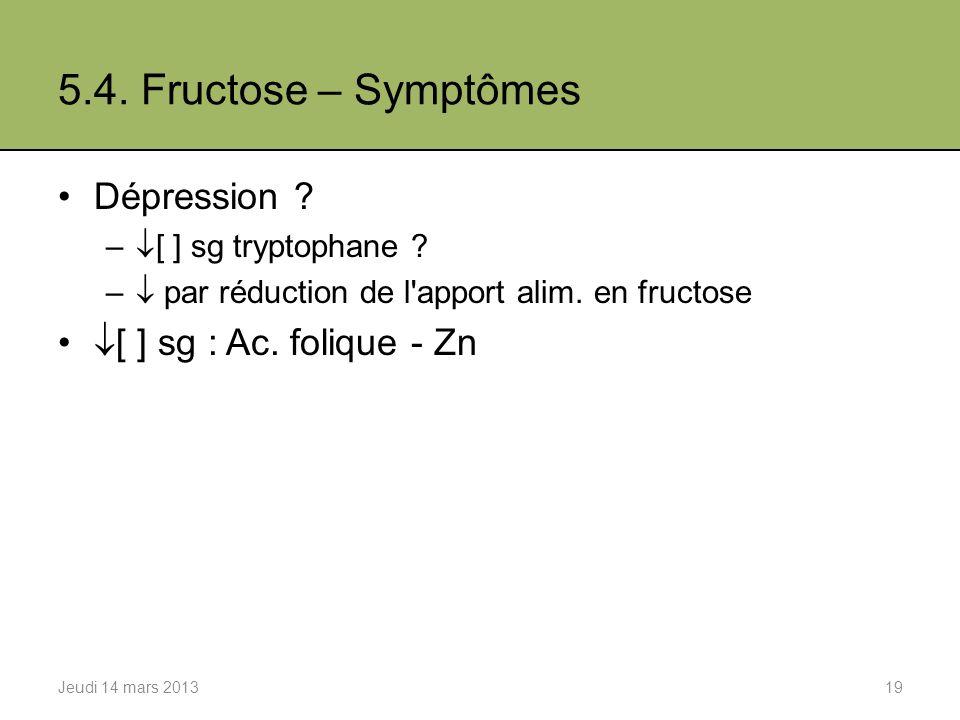 5.4.Fructose – Symptômes Dépression . – [ ] sg tryptophane .