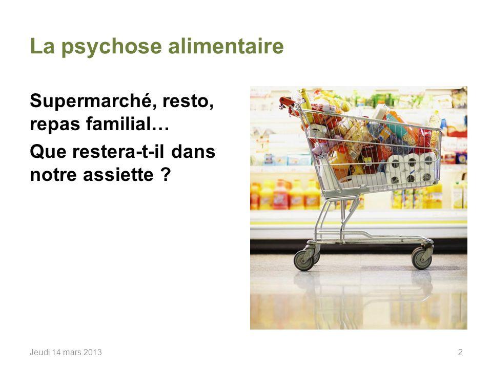 La psychose alimentaire Supermarché, resto, repas familial… Que restera-t-il dans notre assiette .