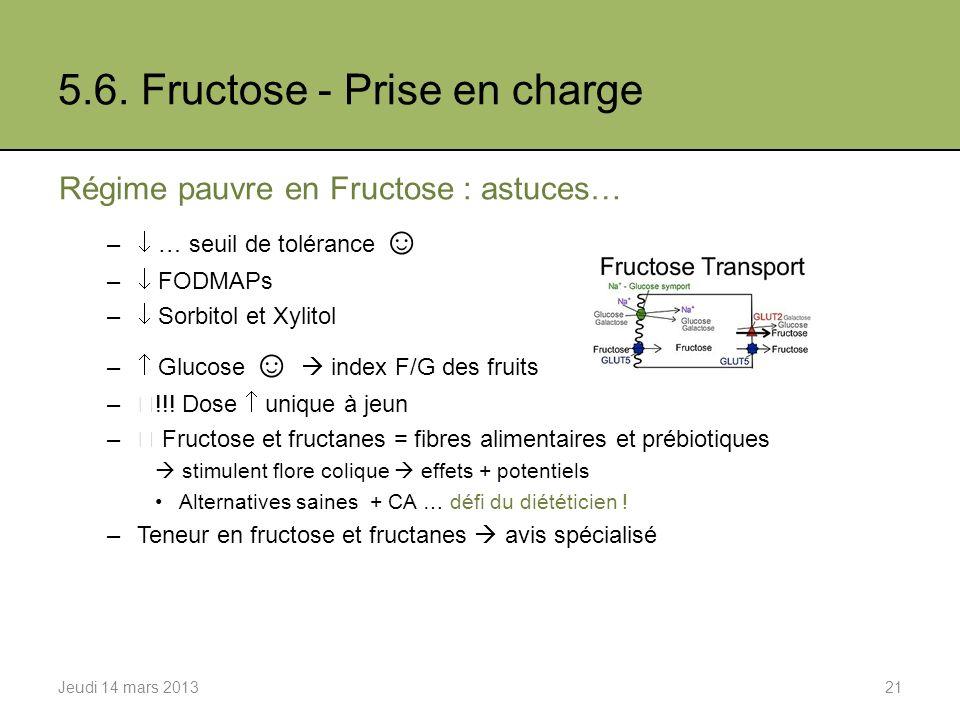 5.6. Fructose - Prise en charge Régime pauvre en Fructose : astuces… – … seuil de tolérance – FODMAPs – Sorbitol et Xylitol – Glucose index F/G des fr