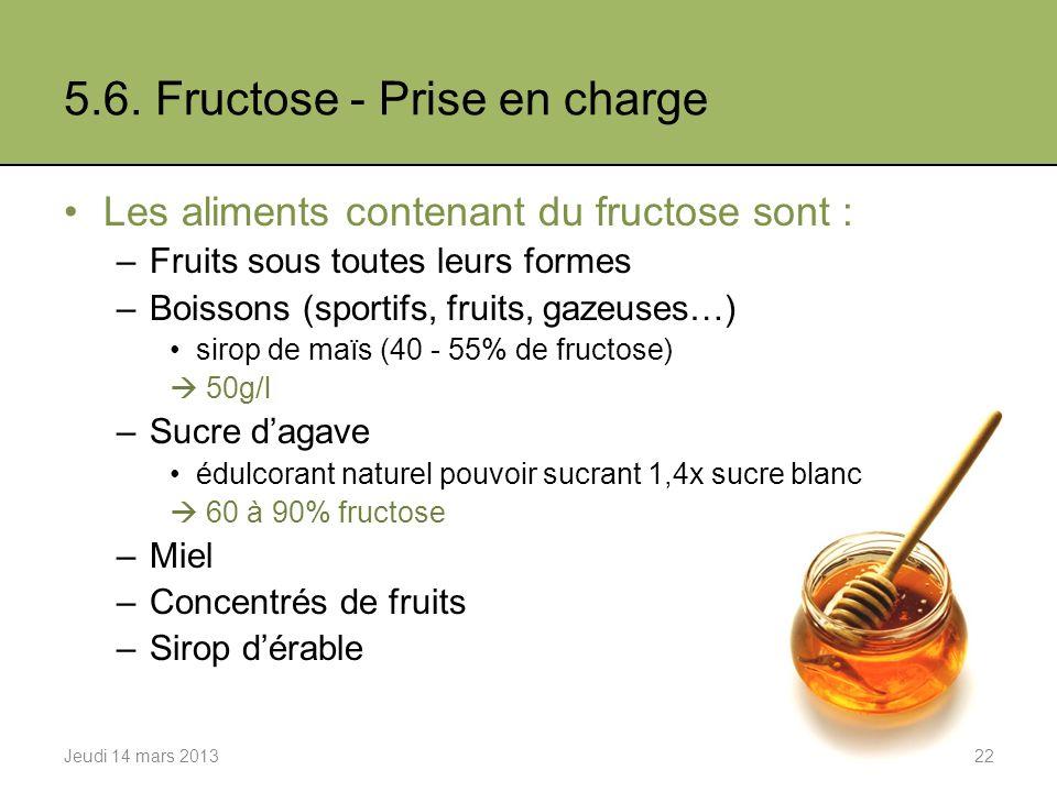 5.6. Fructose - Prise en charge Les aliments contenant du fructose sont : –Fruits sous toutes leurs formes –Boissons (sportifs, fruits, gazeuses…) sir