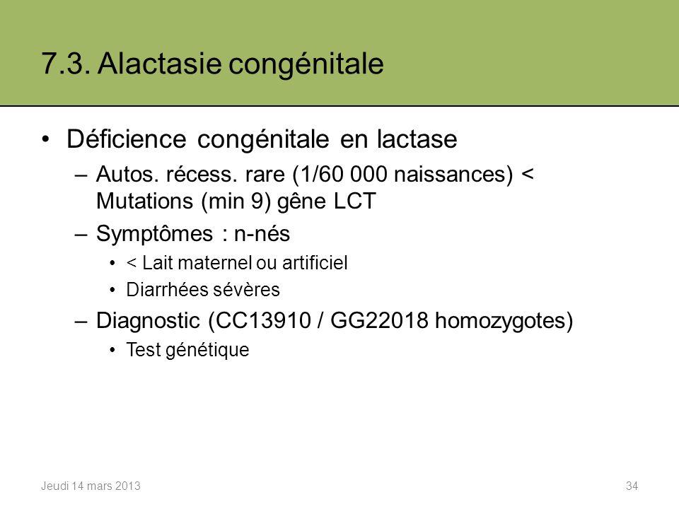7.3.Alactasie congénitale Déficience congénitale en lactase –Autos.